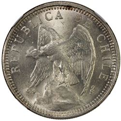 CHILE: Republic, AR 5 pesos, 1927-So. NGC MS64