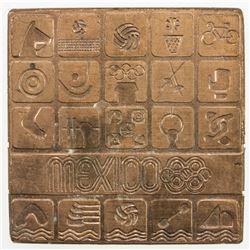MEXICO: AE plaque (113.34g), [19]68. UNC
