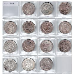 MEXICO: LOT of 14 cap and ray 8 reales and peso, grades from EF-Unc