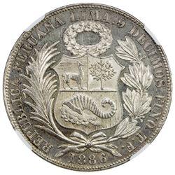 PERU: Republic, AR sol, Lima, 1886. NGC MS63
