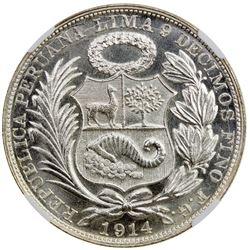 PERU: Republic, AR sol, Lima, 1914. NGC MS64