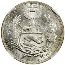 PERU: Republic, AR sol, Lima, 1915. NGC MS64