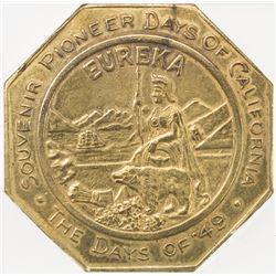 UNITED STATES: California Gold Rush Octagonal Slug brass medal. ICG AU55