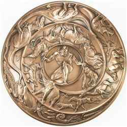 """UNITED STATES:AE medal, 1990. UNC, 102mm bronze medal, """"Creation"""" for the Society of Medalists"""