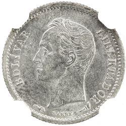 VENEZUELA: Republic, AR 25 centimos, 1912. NGC AU58