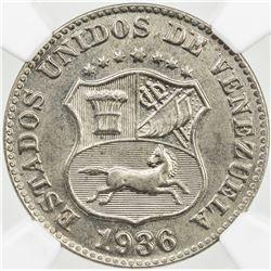 VENEZUELA: Republic, 5 centimos, 1936. NGC MS64