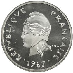 FRENCH POLYNESIA: French Overseas Territory, AR 10 francs, 1967. PF