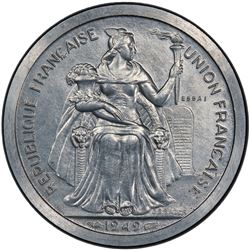 NEW CALEDONIA: 2 francs, 1949. PCGS SP63