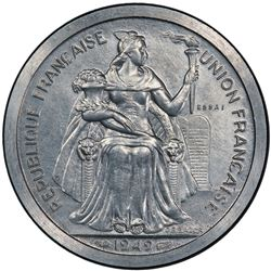 NEW CALEDONIA: 5 francs, 1949. PCGS SP64