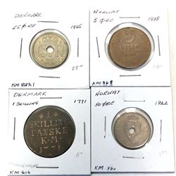 WORLDWIDE GROUP LOTS:  LOT of 103 coins of Denmark and Norway from early 17th to mid-20th century