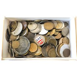 WORLDWIDE GROUP LOTS: LOT of 204 very interesting types of tokens, medals, chits, and weights