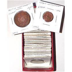 WORLDWIDE GROUP LOTS: LOT of 49 copper coins of various South East Asian territories