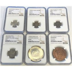 WORLDWIDE GROUP LOTS: LOT of 6 diverse NGC graded coins, retail value $650