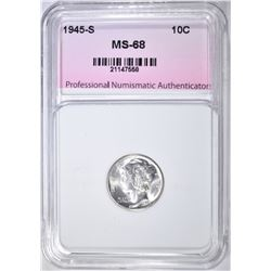 1945-S MERCURY DIME, PNA SUPERB GEM+