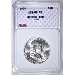 1958 FRANKLIN HALF DOLLAR, RNG  GEM BU FBL