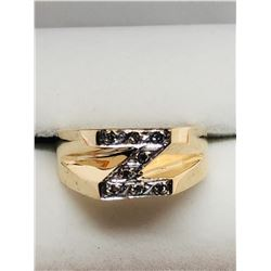 2 10k YELLOW GOLD & DIAMOND INITIAL RINGS: