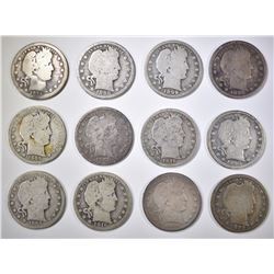 LOT OF 12 BARBER QUARTERS: