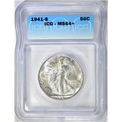 1941-S WALKING LIBERTY HALF DOLLAR  ICG MS-64+