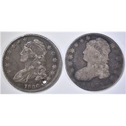1833 GOOD, 1836 VF HOLED BUST HALF DOLLARS