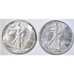 1943 & 45-D WALKING LIBERTY HALF DOLLARS CH BU