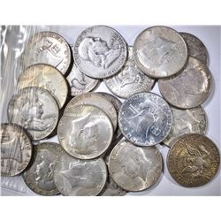 20-MIXED DATE 90% SILVER HALF DOLLARS