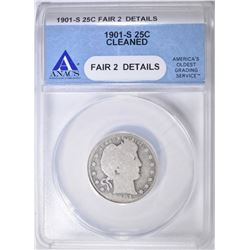 1901-S BARBER QUARTER ANACS FAIR 2 CLEANED