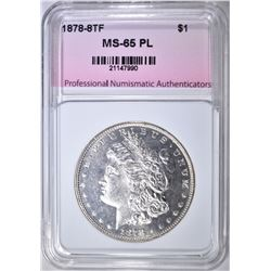 1878 8TF MORGAN DOLLAR, PNA GEM BU PL
