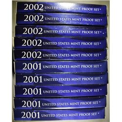 5-2001 & 5-2002 U.S. PROOF SETS ORIG PACKAGING
