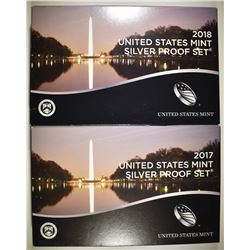 2017 & 18 U.S. SILVER PROOF SETS IN ORIG PACKAGING