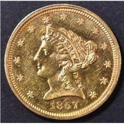 1857 $2.5 GOLD LIBERTY  CH BU PL