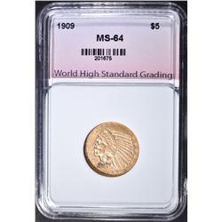 1909 $5 GOLD INDIAN  WHSG CH/GEM BU