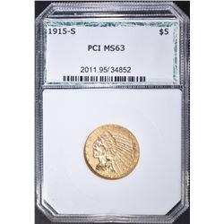 1915-S $5 GOLD INDIAN  PCI CH BU
