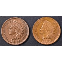 2 INDIAN CENTS  CH BU 1902, 1897