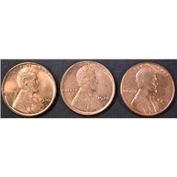 1928, 30, 33-D LINCOLN CENTS CH BU