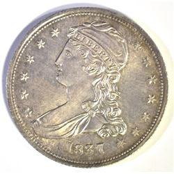 1837 REEDED EDGE HALF DOLLAR, GEM BU