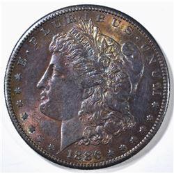 1886-S MORGAN DOLLAR CH BU RAINBOW COLOR!