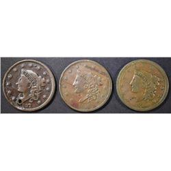 1836, 37 & 38 LARGE CENTS, LOW GRADE DAMAGE