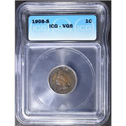 1908-S INDIAN CENT, ICG VG-8