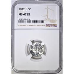 1942 MERCURY DIME, NGC MS-67 FB