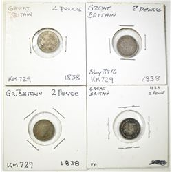 4-1838 2-PENCE BRITAIN, 3-MID/HIGH GRADE 1-damage