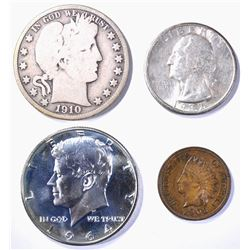 (4) COIN MIXED LOT: 1906 INDIAN CENT CH,
