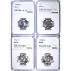 1980-P, 1980-D, 1980-S, 1981-P S.B.A ALL NGC MS-66