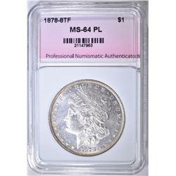 1878 8TF MORGAN DOLLAR, PNA CH/ GEM BU PL