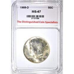 1968-D KENNEDY HALF DOLLAR, TDCS SUPERB GEM BU