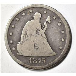 1875-CC TWENTY CENT PIECE, PNA FINE