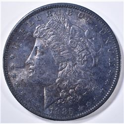 1885-O MORGAN DOLLAR CH BU TONED OBV, WHITE REV.