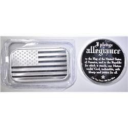 PLEDGE ALLEGIANCE & AMERICAN FLAG 1oz SILVER PCS