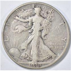 1938-D WALKING LIBERTY HALF VF