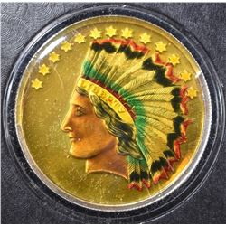 ONE OUNCE .999 SILVER HAND PAINTED INDIAN ROUND