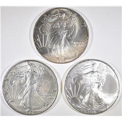 1987, 1991 & 2010 BU AMERICAN SILVER EAGLES